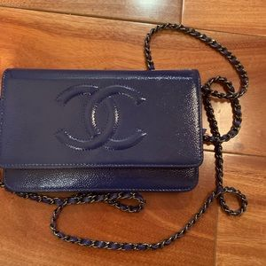 Authentic leather CC timeless wallet on chain